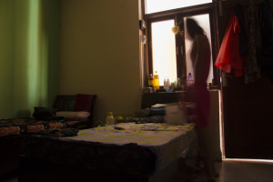 Through the corridor is a singular view of the life in a Paying Guest accomodation for girls in New Delhi. Photographer-Prachi Seksaria/ Fseven Photographers